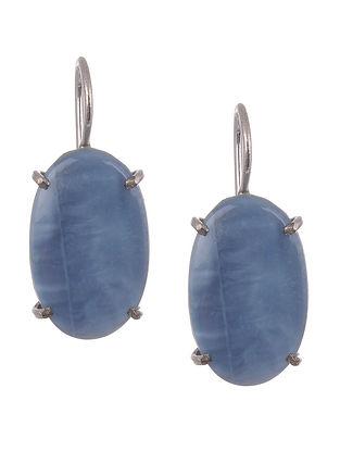 Blue Opel Silver Earrings