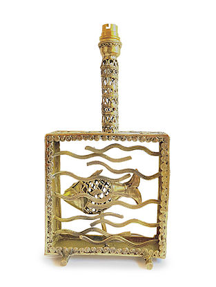 Bhairwa Brass Handcrafted Fish Lamp (L-3in, W-7in, H-13.1in)