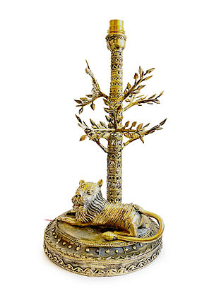 Bhairwa Brass Handcrafted Lion Lamp (L-7.5in, W-8.5in, H-14.2in)