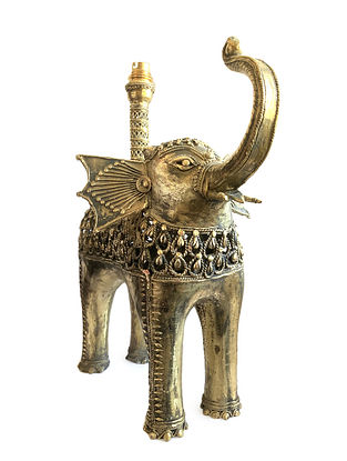 Bhairwa Brass Handcrafted Elephant Lamp (L-15.5in, W-9in, H-16in)