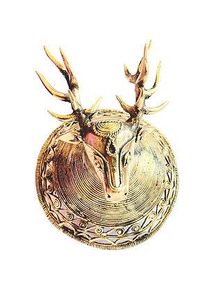 Bhairwa Brass Handcrafted Deer Wall Hanger (L-4.5in, W-5.3in)