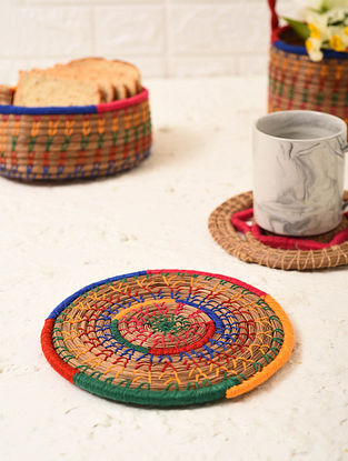 Multicolored Handcrafted Pine Needle Grass Place Mat (L - 7.2in, W - 7.2in)