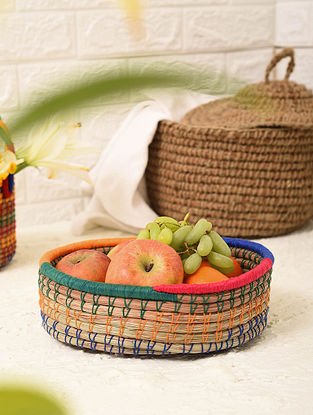 Multicolored Handcrafted Pine Needle Grass Basket (L - 10in, W - 8.3in, H - 2.5in)