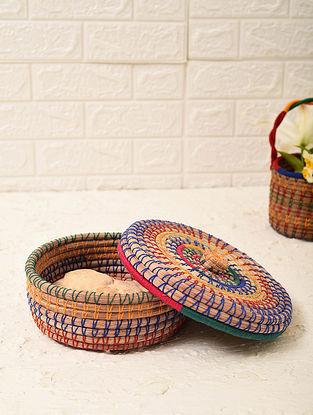 Multicolored Handcrafted Pine Needle Grass Chapati Box (L - 9in, W - 9in, H - 3.6in)