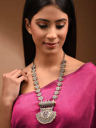 Pink Dual Tone Tribal Necklace