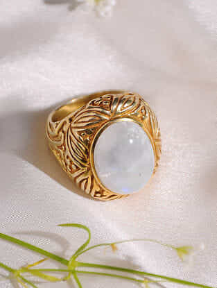 Moon Stone Sterling Silver Ring (Size: 16)