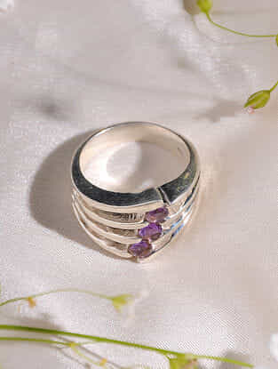Amythest Sterling Silver Ring (Size: 16)