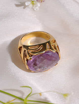 Gold Plated Amethyst  Sterling Silver Ring (Size: 13.5)