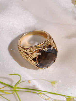 Gold Plated Smoky Quartz Sterling Silver Ring (Size: 16)