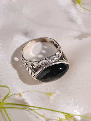 Black Onyx Sterling Silver Ring (Size: 15)