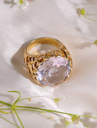 Gold Plated Crystal  Sterling Silver Ring (Size:17)
