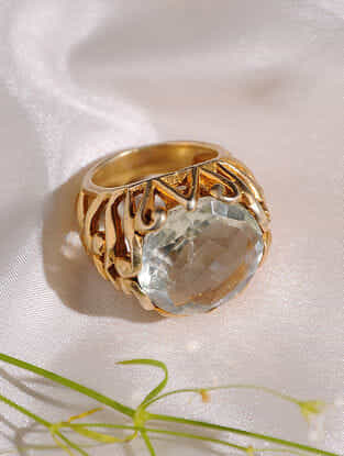 Gold Plated Green Amethyst Sterling Silver Ring (Size: 16.5)