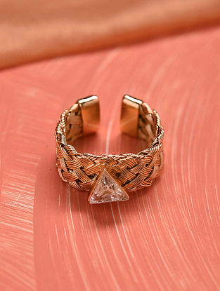 White Gold Tone Handcrafted Ring with crystal