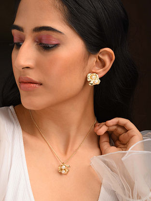 White Gold Tone Handcrafted Necklace And Earrings With Pearls