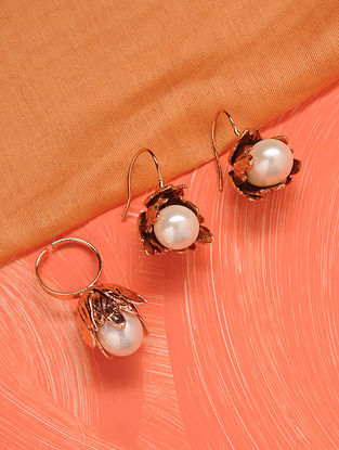 Gold Tone Handcrafted Earrings And Ring With Pearls