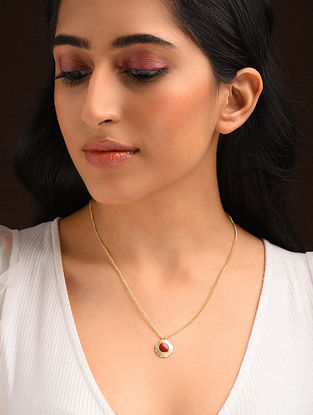 Red Gold Tone Enameled Pendant With Chain