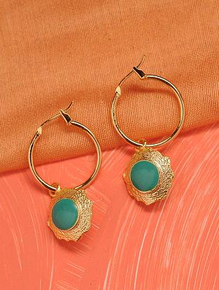 Turquoise Gold Tone Enameled Earrings