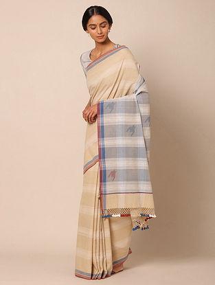 Beige Bhujodi Cotton Saree