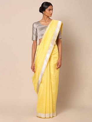 Yellow Benarasi Silk Kadwa Cotton Saree
