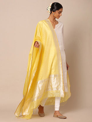 Yellow Benarasi Silk Kadwa Cotton Dupatta