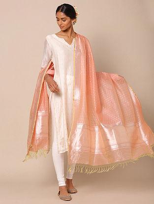 Pink Benarasi Silk Kadwa Cotton Dupatta