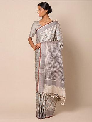 Grey Benarasi Tanchoi Silk Saree