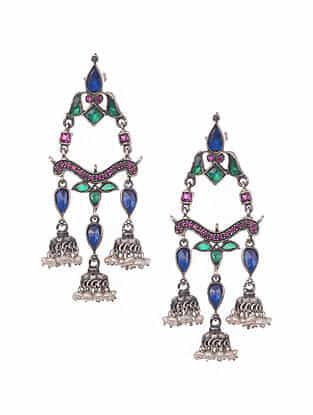 Kundan Silver Jhumki Earrings