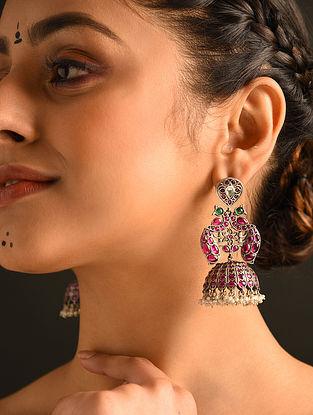 Kempstone Encrusted Tribal Silver Jhumki Earrings