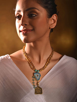Yellow Turquoise Gold Tone Handcrafted Necklace