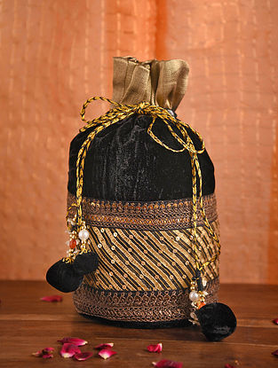 Black Gold Handcrafted Velvet Potli