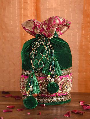 Emerald Green Pink Handcrafted Velvet Potli
