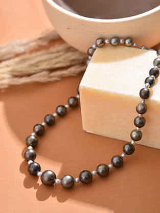 Black Grey South Sea Pearl Beaded Necklace