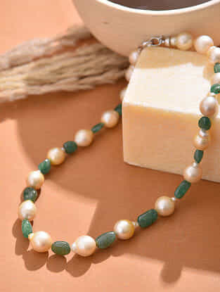 South Sea Pearl Beaded Necklace with Emerald