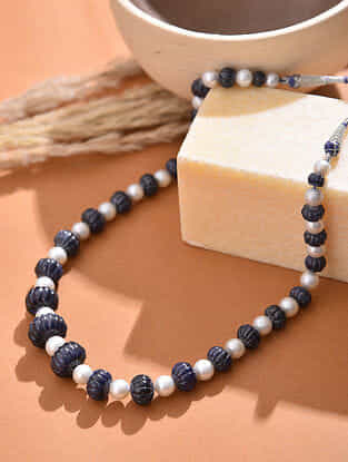 South Sea Pearl Beaded Necklace with Blue Sapphire