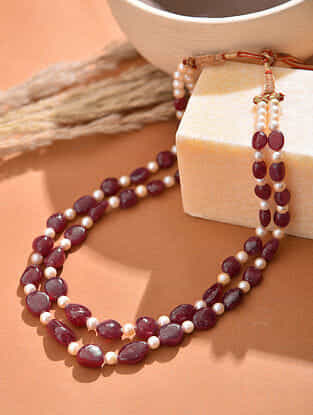 South Sea Pearl Beaded Necklace with Ruby