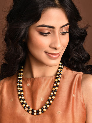 Gold Black South Sea Pearl Beaded Necklace