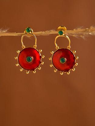 Green Red Gold Tone Enameled Earrings