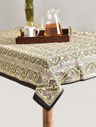 Multicolor Handblock Printed Cotton Table Cover (L - 69in, W - 66in)