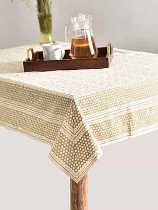 Multicolor Handblock Printed Cotton Table Cover (L - 69in, W - 69in)