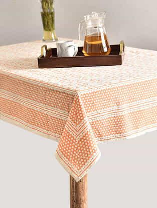 Multicolor Handblock Printed Cotton Table Cover (L - 68in, W - 68in)