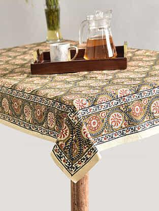 Multicolor Handblock Printed Cotton Table Cover (L - 66in, W - 66in)
