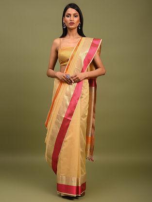 Beige Handwoven Maheshwari Silk Saree
