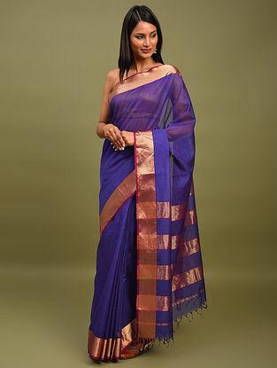 Purple Handwoven Maheshwari Silk Saree