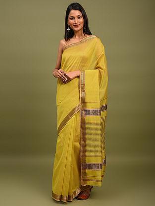 Yellow Handwoven Maheshwari Silk Saree