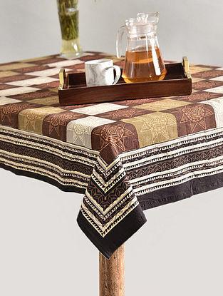 Multicolor Handblock Printed Cotton Table Cover (L - 69in, W - 67in)