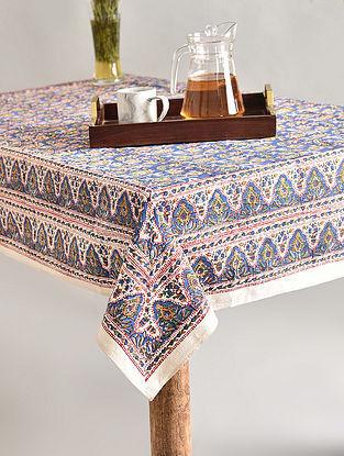 Multicolor Handblock Printed Cotton Table Cover (L - 67in, W - 67in)