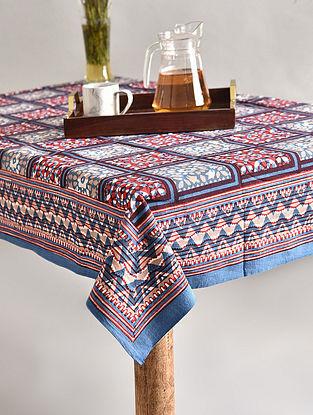 Multicolor Handblock Printed Cotton Table Cover (L - 70in, W - 68in)