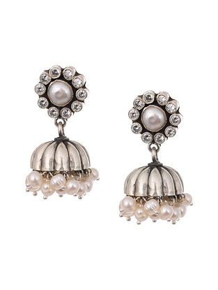 Tribal Silver Earrings with Zircon and Pearls