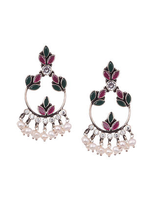 Tribal Silver Earrings with Onyx and Pearls