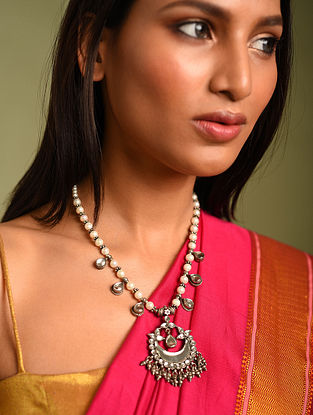 Kundan Silver Necklace with Pearls